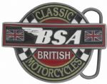 BSA Classic Motorcycles Belt Buckle with display stand. Product code: LD6